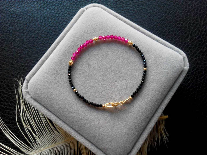 Lii Ji Natrual Black Spinel Lab-created Ruby 925 sterling silver Gold Gemstone Anklet Women Gift