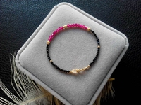 Lii Ji Natrual Black Spinel Lab created Ruby 925 sterling silver Gold Gemstone Anklet Women Gift