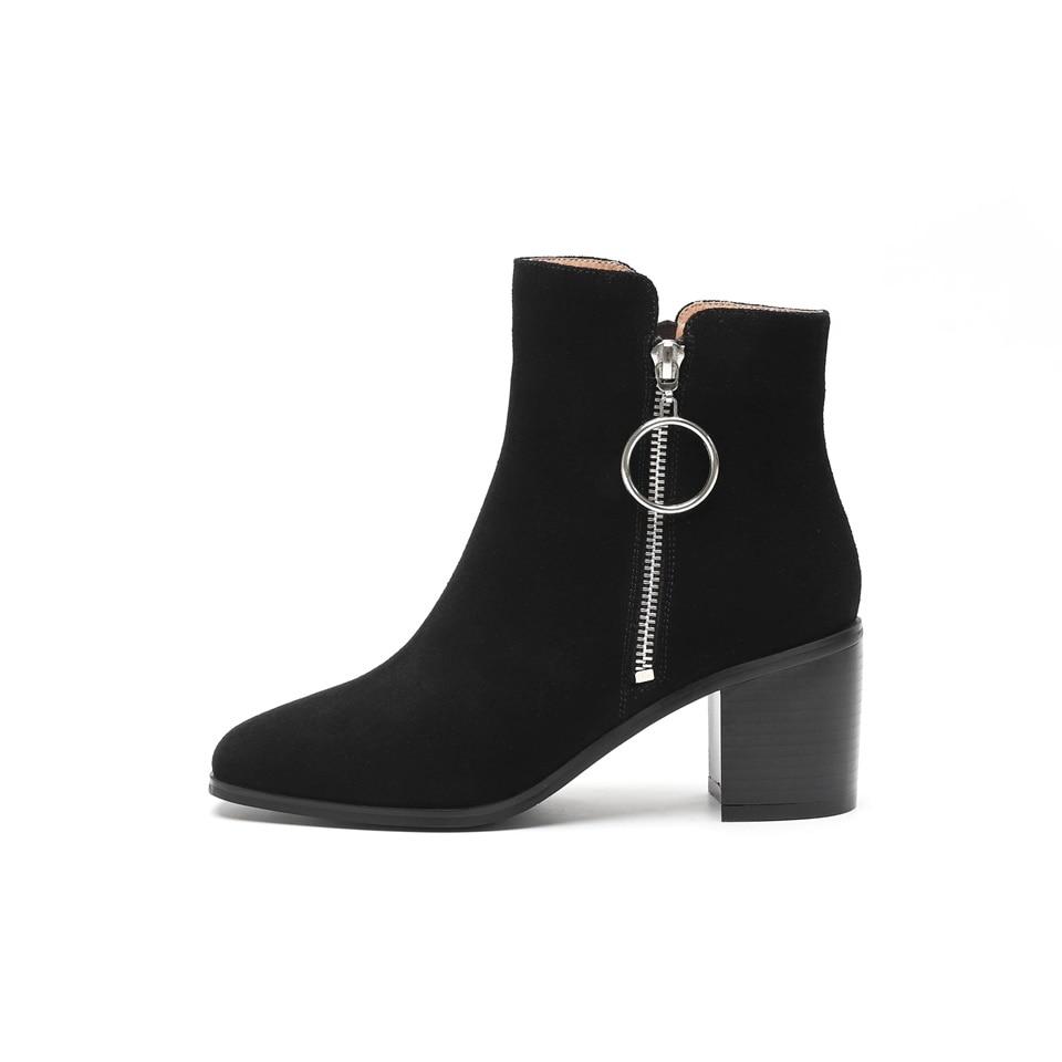 De 6 Chaussures Haut Confortable En Supérieure Matériel Qualité Printemps 5 Black Suede Cuir 2019 Talon Automne Carré Femmes Mode Bottes Cm noir Bout nxXqwx6HgT