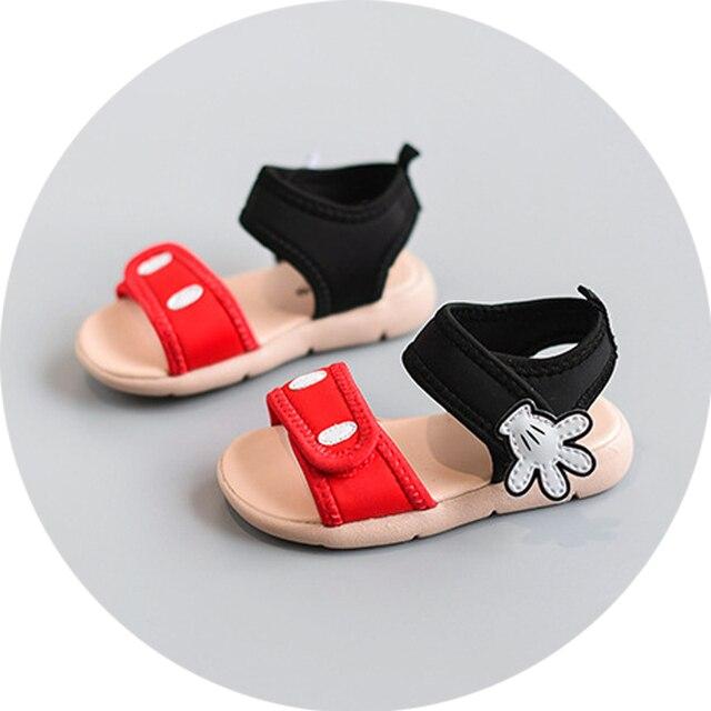 2017 Прекрасный палм детские девушки туфли летние случайных спортивные сандалии для девочек пляжная обувь детские впервые ходунки микки обувь размер 15-25