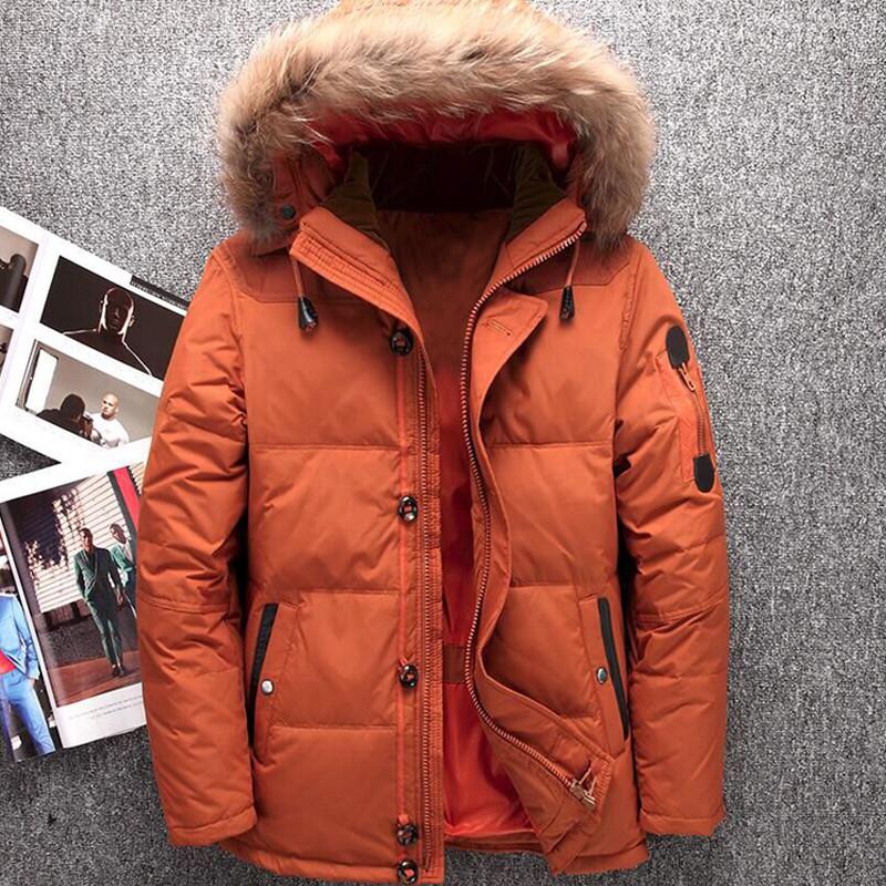 7e3b025db503 2019 Men S Down Jacket Warm White Duck Winter Coat Fur Collar Hooded ...
