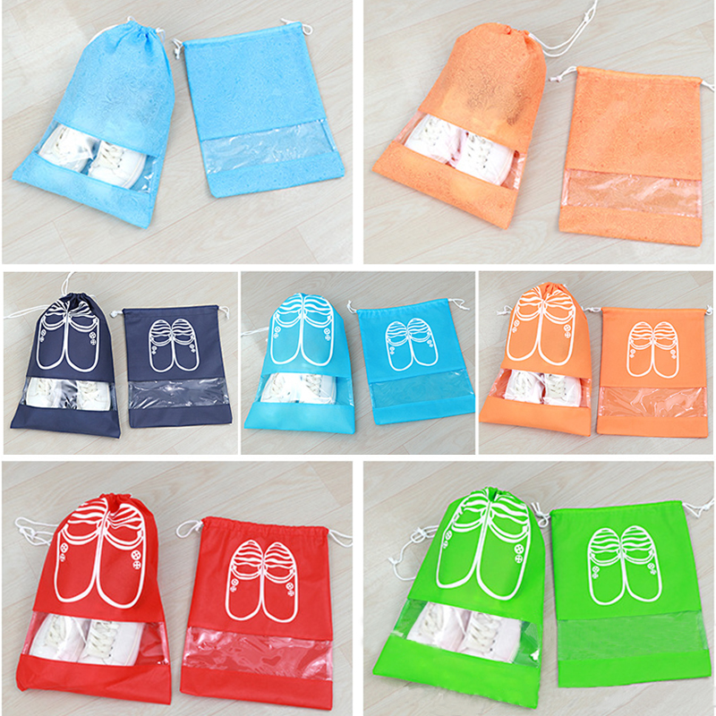 1pc Women Travel Shoes Bags Men Dustproof Cover Shoes Storage Bag Non-Woven Travel Beam Drawstring Port Shoe Organizer