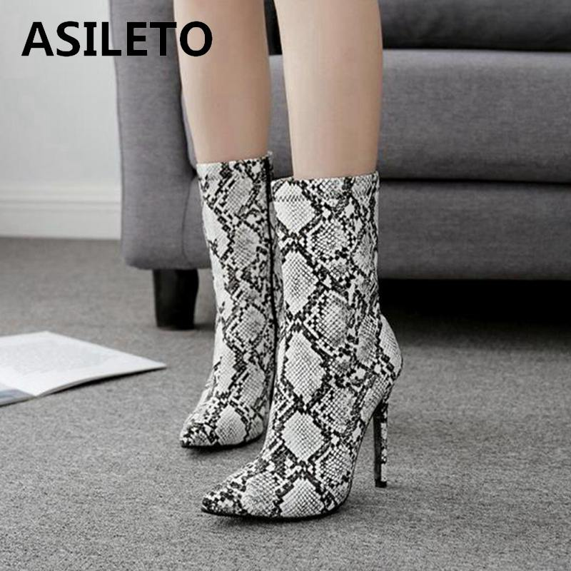 ASILETO Women's high heel ankle Boots snake pattern Western Booties pointed toe stiletto Chelsea boot ladies bottes femme C988