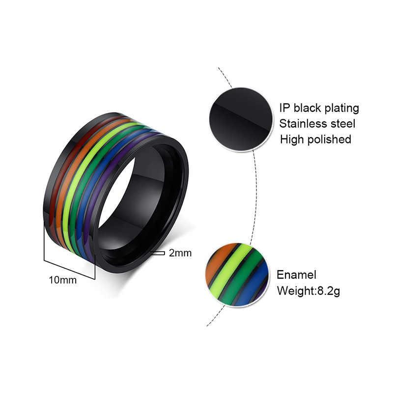 Размер на заказ Гравировка 10 мм Эмаль из нержавеющей стали радужные линии LGBT кольцо гордости для лесбиянок и геев обручальные кольца ювелирные изделия