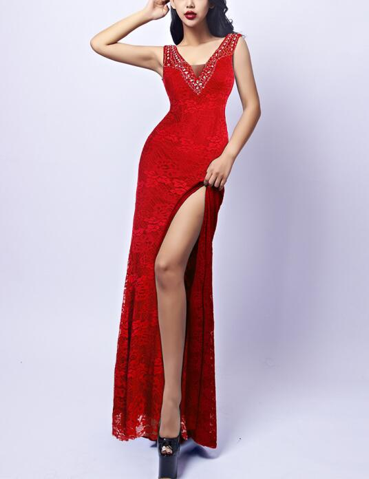 Lace Red Blue Long Dress Bodycon High Slit Sequined Sexy Lace Elegant Celebrity Night Club Evening Party Women Long Dresses