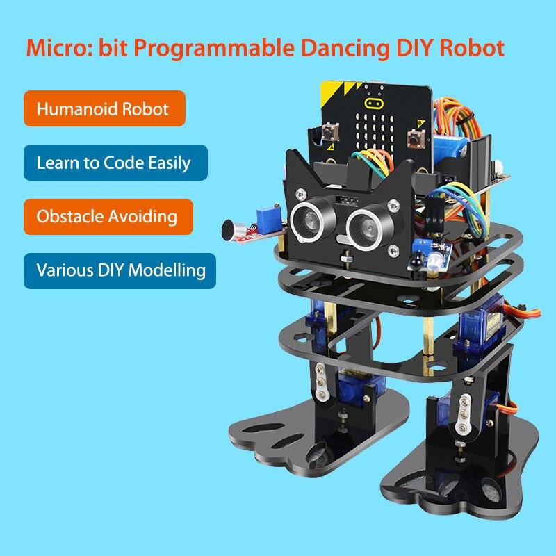 Elecrow Micro: bit Programmable danse robot à monter soi-même bipède humanoïde Servo Robots Micro Bit programmation Kit d'apprentissage pour les enfants