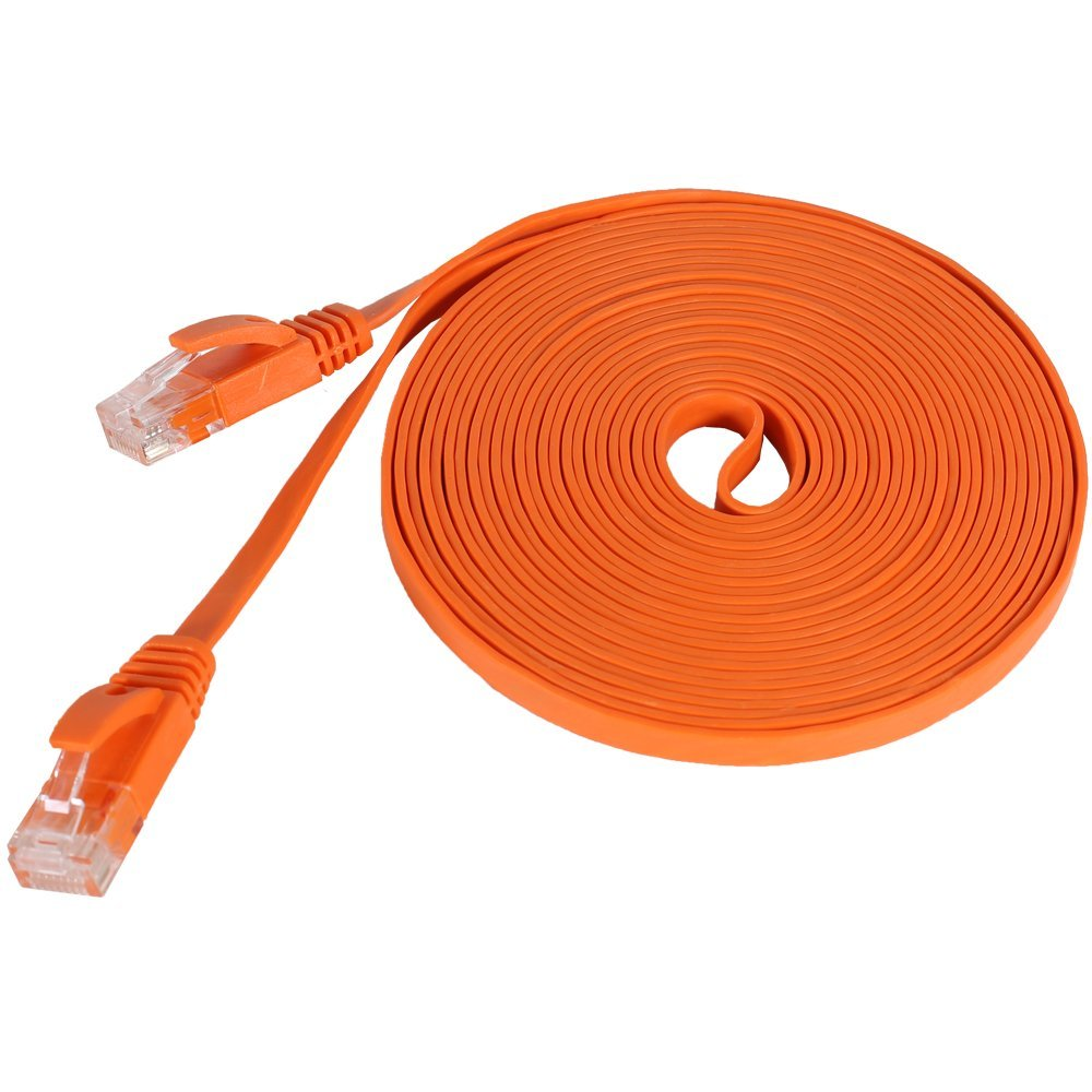 Pure Copper Wire CAT6 Flat UTP Ethernet Network Cable RJ45 Patch LAN Cable Black/white /orange Color-3m/1m