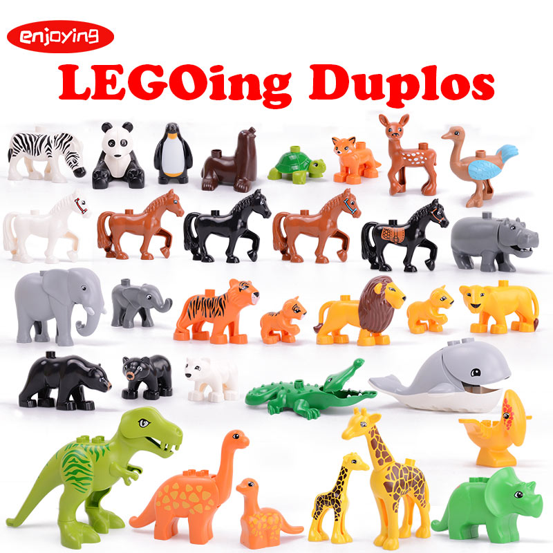 Toys & Hobbies New Fashion Diy Various Large Particles Building Blocks Swing Dinosaurs Figures Animal Accessories Compatible Legoingly Duploed Toy For Kids Punctual Timing