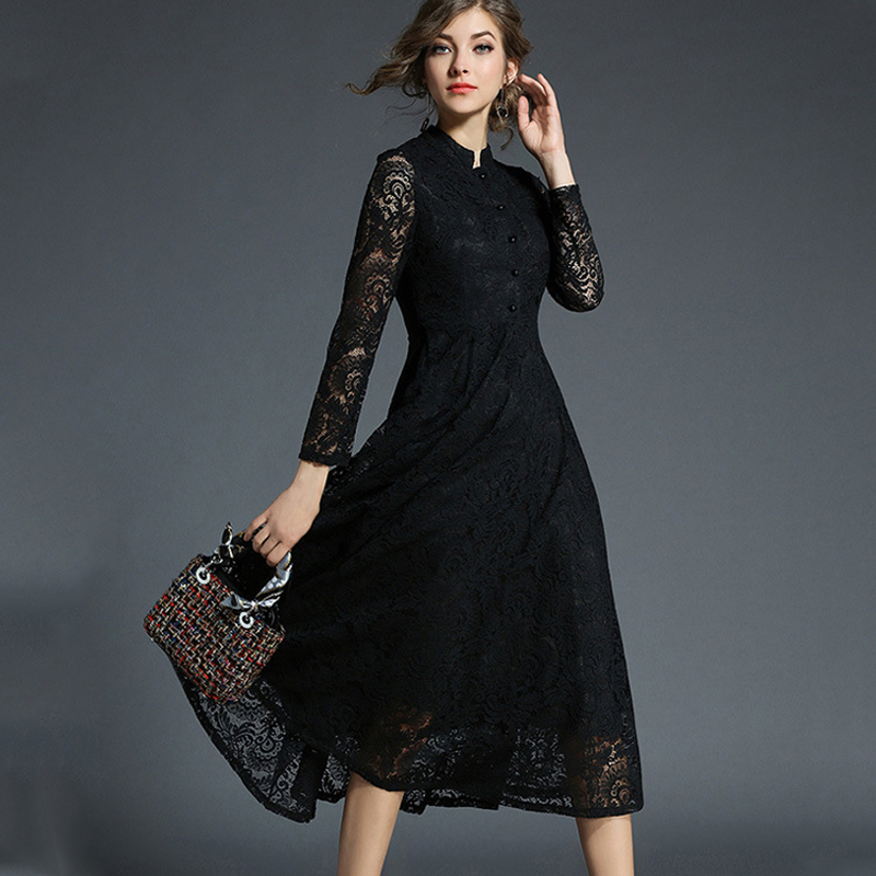 Spring Autumn Lace Long Dress Women Stand Neck Long Sleeve Plus Size 5xl Slim Office Work Dress Female Elegant Party Dresses
