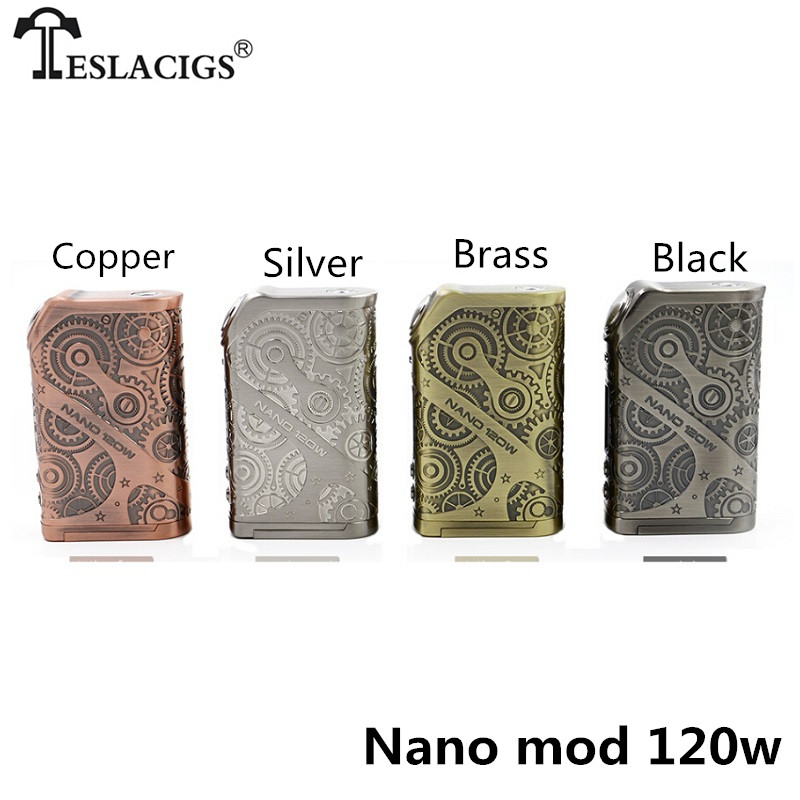 100% Original Tesla Nano mod 120w Teslacigs Nano 120W vape Box Mod Steampunk style VW/TC/TCR mode for vape Electronic cigarette
