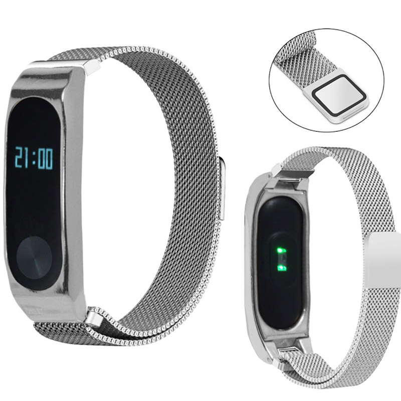 Milanese loop Magnetic buckle bands For Xiaomi Mi Band 2 Strap Stainless Steel Chain Replace Bracelet Mi Band 2 Accessories