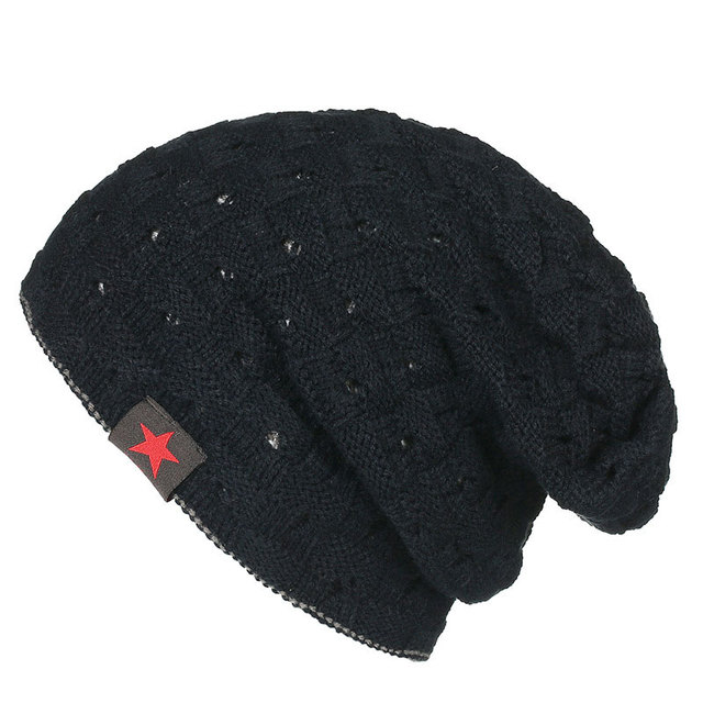 Double Layer Reversed Slouch Winter Beanies Knitted Mens Winter Hat with  Hole Soft Acrylic Black Khaki Lt. Grey Dark Red 503293b99f5
