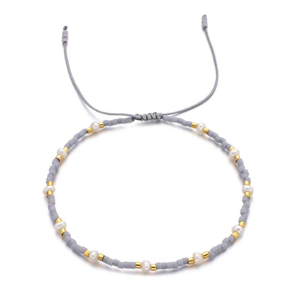 ZMZY pequeña perla Irregular cuentas de cristal encanto pulsera de cristal fino hecho a mano tejido cadena pulseras para mujer ajustable