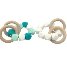 2pcs Baby Nursing Teether Silicone Bracelet Wooden Teether Ring Teether Safe Organic Infant Baby Bangle Teether