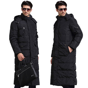 2018 new Winter long Loose coat Men's Hooded Thick Warm Hooded Park jacket Detachable Collar Cold Coat Color Black / Army green