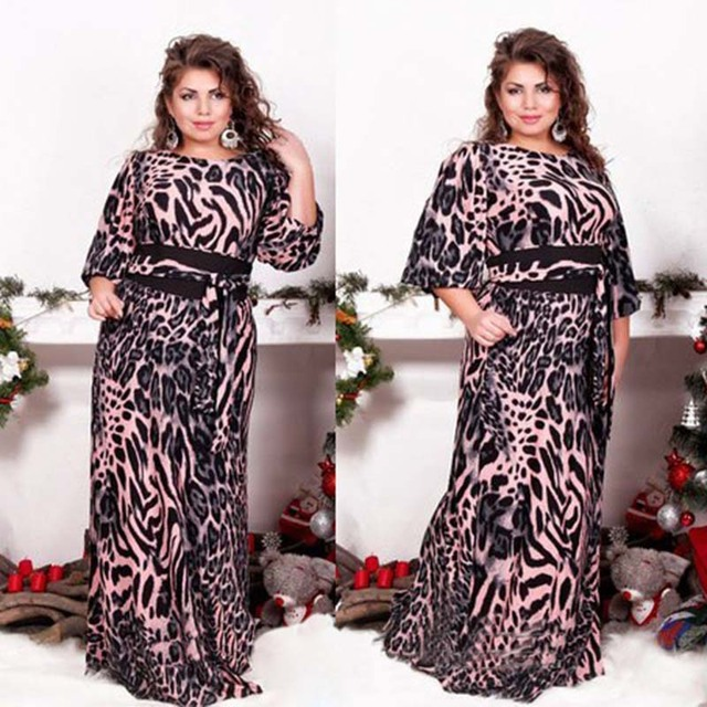 US $39.23 |Fashion Leopard Printed Long Sleeve Chiffon Maxi Dress Plus Size  Female Party Vestidos Women\'s Loose Summer Dresses To The Floor-in Dresses  ...
