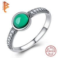 BELAWANG Solid 925 Sterling Silver Rings Party Jewelry Green Stone Cubic Zirconia Fashion Rings For Women