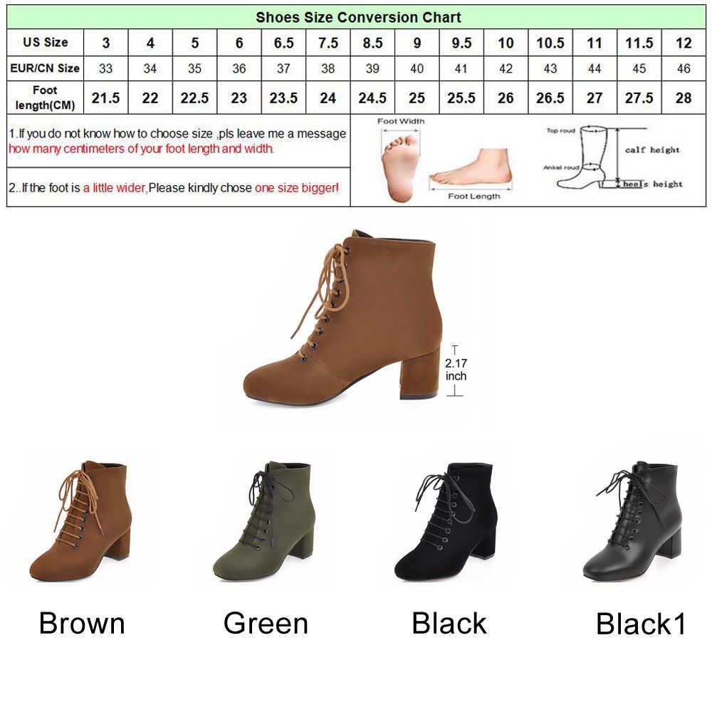 Женские повседневные ботинки Meotina, осенние ботинки на квадратном каблуке, с круглым носком, на шнуровке, до 43-го размера