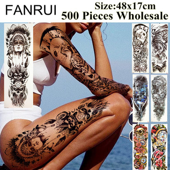 FANRUI 500 Pieces Wholesale Fake Full Arm Tattoo Temporary Long 48x17cm Flower Fox Tatoo Flash Body Art Tattoo Stickers Supplies