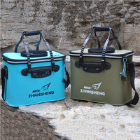 KAWO 3 Color Large Fishing Box Portable EVA Folding Bucket Water Tank Fish Storage Box For Live Fish Fishing Tackle Box Tool Fishing Tackle Boxes     -