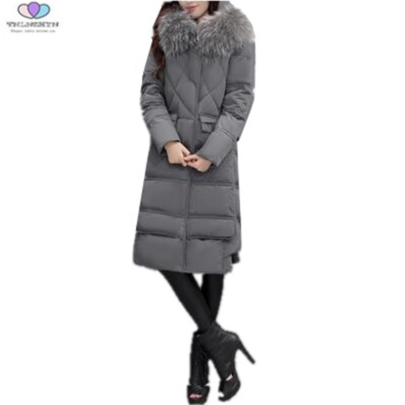 2017 New Winter Women Coat Fashion Slim Hooded Fur Collar Medium long Down Cotton Jacket Thick Warm Cotton Parka TNLNZHYN E256