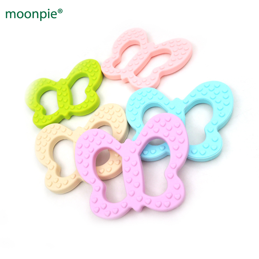 5pcs assorted cute butterfly baby teethers silicone teether toy BPA ...