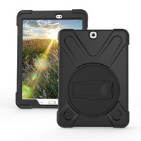 Case Cover For Samsung Galaxy Tab S2 8.0 (2015 Release),Rugged Hybrid Protective Cover with 360 Degree Rotatable Kickstand Black