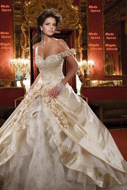 2016 vestido de novia bordado con cuentas rosas champagne de lujo