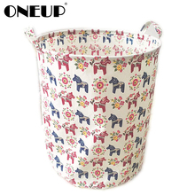 hot deal buy oneup home storage organizer basket heavy duty canvas/wipeable inside foldable collapsible toy bin storage laundry basket hampe