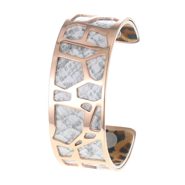 Yoiumit Leopard Print Leather Bracelet Manchette Femme Stainless Steel Jewelry Cuff Bangles Interchangeable Reversible Pulseiras