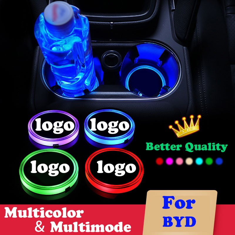 2X Car luminous coaster Cup Mat For BYD f3 f0 s6 f3r l3 <font><b>bn02</b></font> car logo light Accessories Atmosphere light Anti Slip 7 Colors USB image