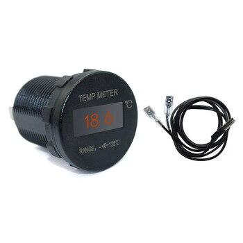 มินิOLED Temp meterจอภาพ-40-125Centigradeกันน้ำสำหรับเรือทะเลรถบรรทุกรถATV UTVรถค่ายคาราวาน