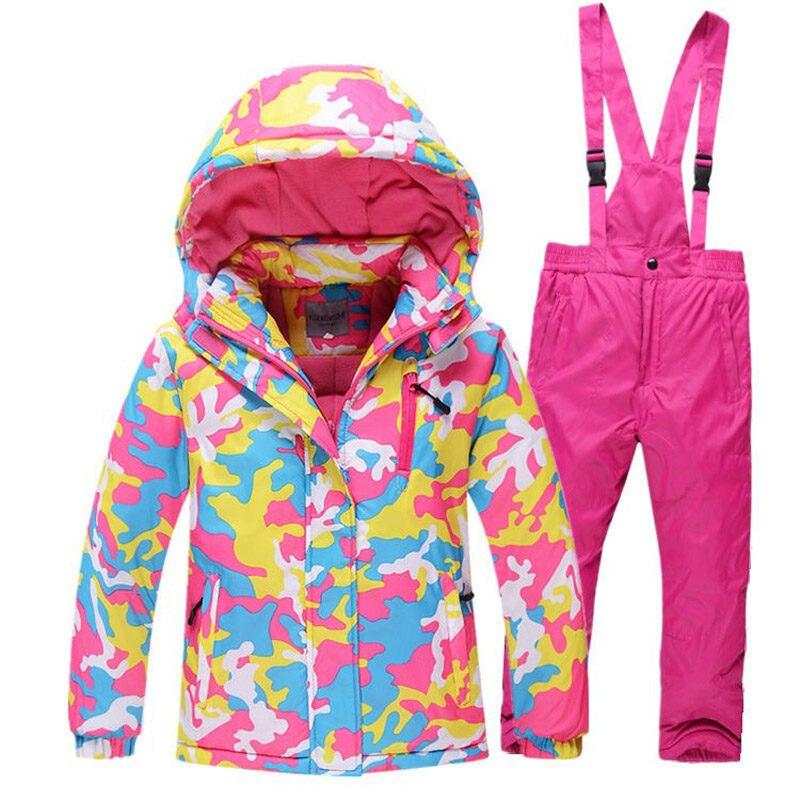 Camouflage enfants veste de neige combinaison de Ski ensembles extérieur fille/garçon Ski snowboard vêtements thermique hiver veste + bavoir pantalon-30