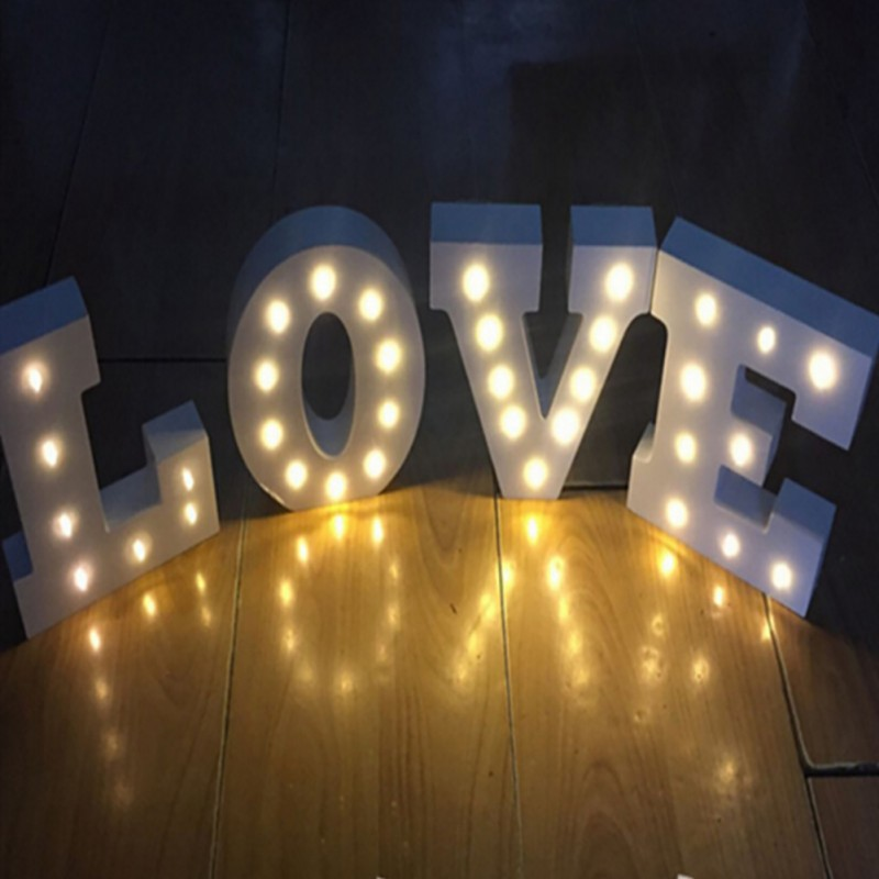 White Wooden Letter LED Marquee Love Sign Alphabet Light Indoor Wall Decoration Light Up Night Light xmas letters led marquee sign light up vintage plastic neon light indoor deration free shipping