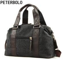 Peterbolo Для Мужчин's Повседневное Холст сумка дорожная сумка с верхней ручкой высокое качество больше Размеры мужской сумка