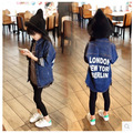 2-7 Yrs Baby Girls soft Denim Jackets Coats Fashion Children Outwear Coat letter print Design Girls Kids Denim Jacket