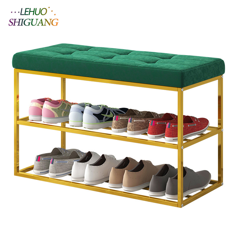 Entrance Shoe Bench Steel Frame With Velvet Cushion Living Room Shoe Cabinet Fashion Shoe Rack Dining Table Chair Furniture