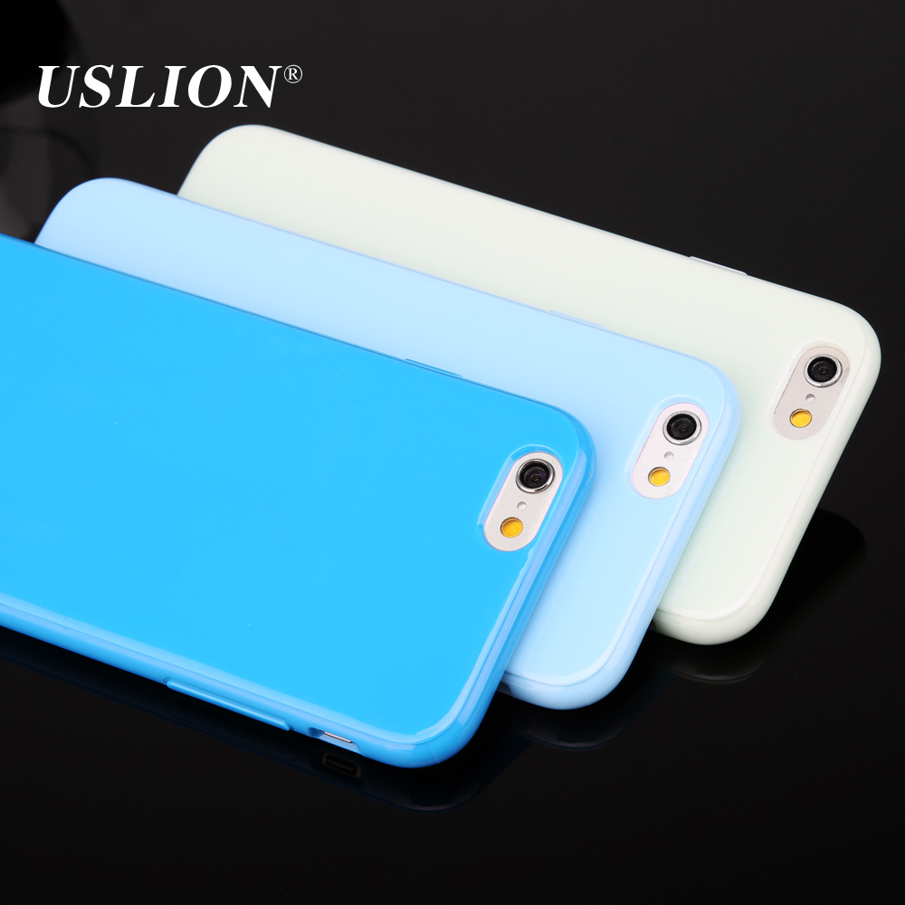 USLION For iPhone 6 6s 6Plus 6s Plus Case Fashion Candy Color Ultrathin Soft TPU Silicone Phone Cover Back Cases Capa