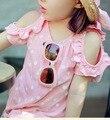 2 - 7 Y 2016 новый бренд девушки футболка с коротким рукавом лучших лето девочка горошек майка футболки дети детская одежда гарсон