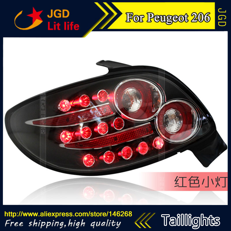 Car Styling tail lights for Peugeot 206 taillights LED Tail Lamp rear trunk lamp cover drl+signal+brake+reverse car styling tail lights for hyundai santa fe 2007 2013 taillights led tail lamp rear trunk lamp cover drl signal brake reverse