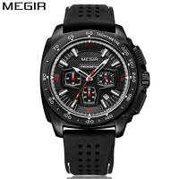 2018 MEGIR Mens Watch Multifunction Water Resistant Black Dial Silicone Watches Military Quartz Watches Relogio Masculino
