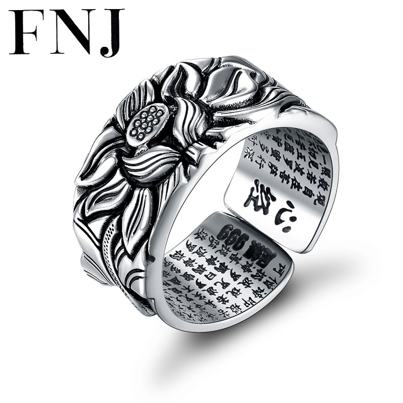 999 Silver Lotus Rings Good Luck Buddha Adjustable Size Trendy Popular S999 Solid Thai Silver Ring For Women Men Jewelry