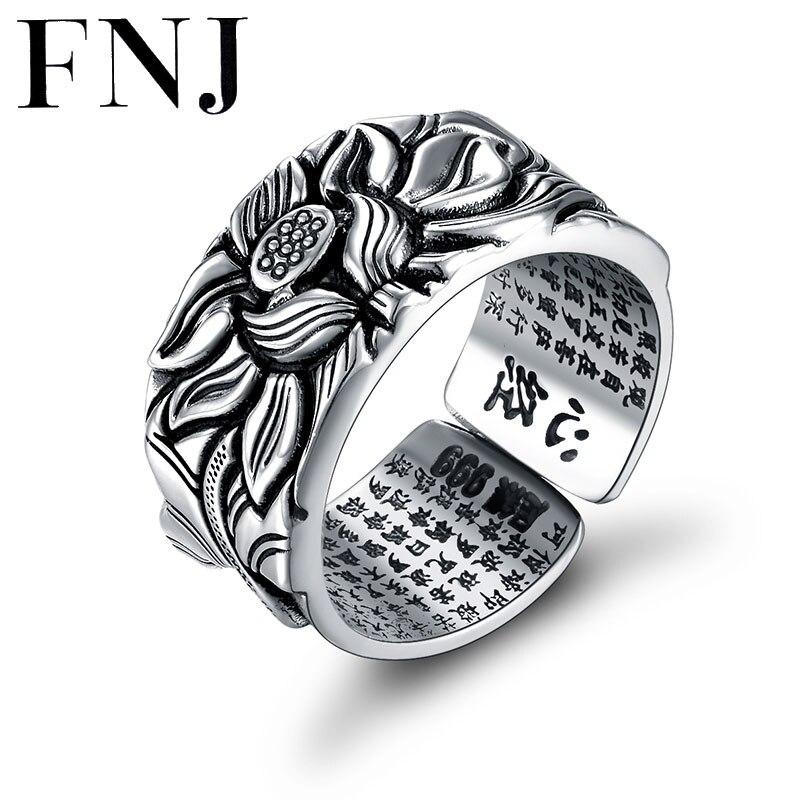 Plata 925 anillos de loto Buda buena suerte tamaño ajustable moda Popular S925 sólido anillo de plata tailandesa para las mujeres hombres joyería