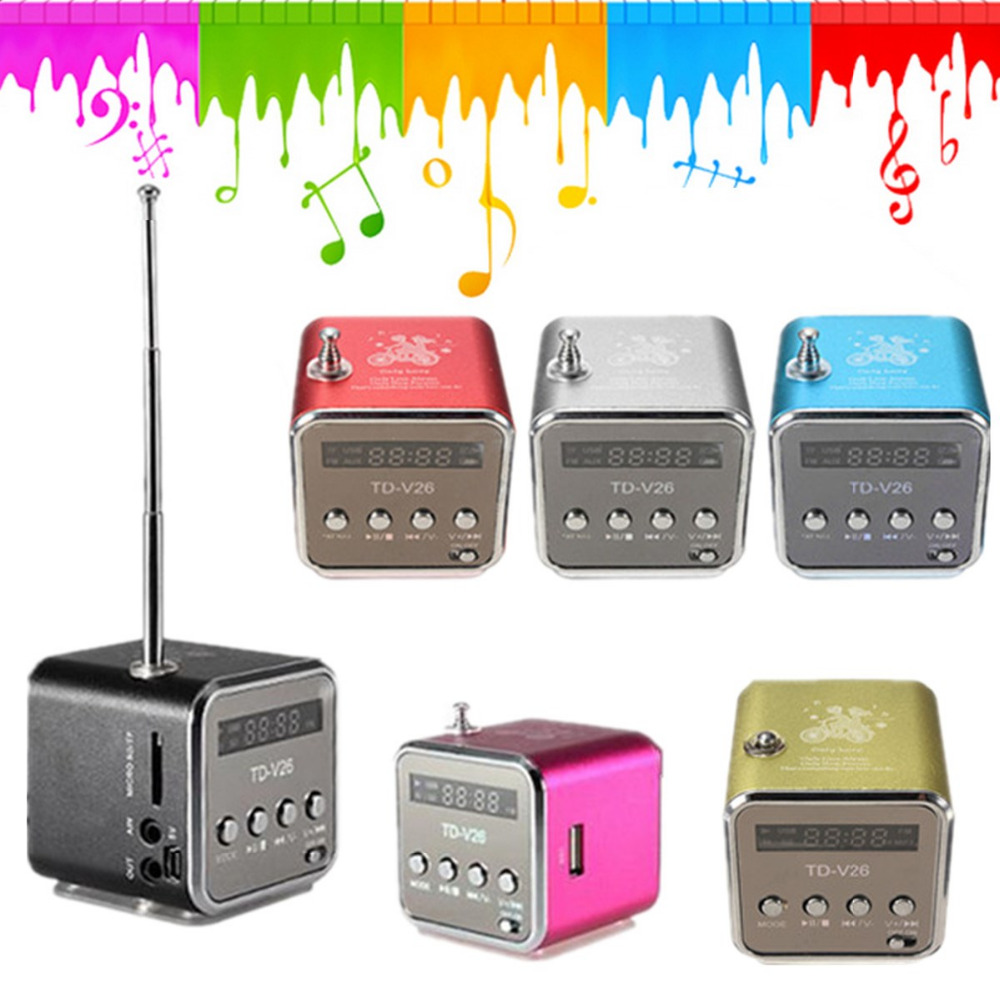 TD-V26 Mini Speaker Portable Digital LCD Sound Micro SD/TF FM Radio Speaker Music Stereo Loudspeaker for Laptop Phone