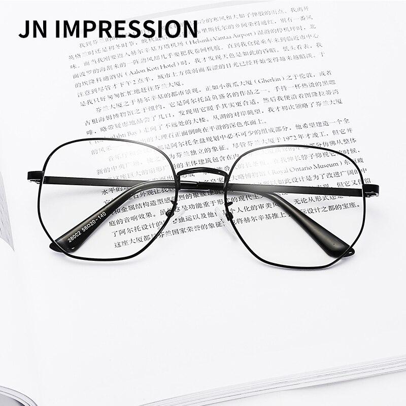 Vintage Women Man Eyeglasses Polygon Alloy Eyewear Frames ray Optical Clear Lenses Glasses Brand Designer Frame W28002