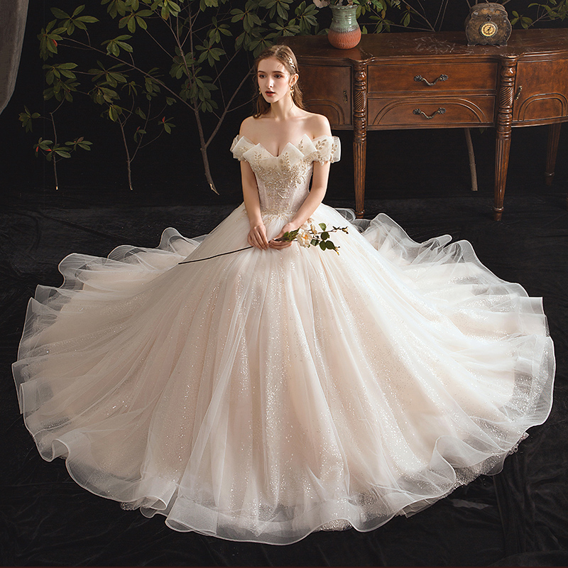 SSYfashion Luxury Strapless Lace Up Back Floor-Length Sweep Train White Wedding Dress Custom Plus Size Gown Vestido De Novia