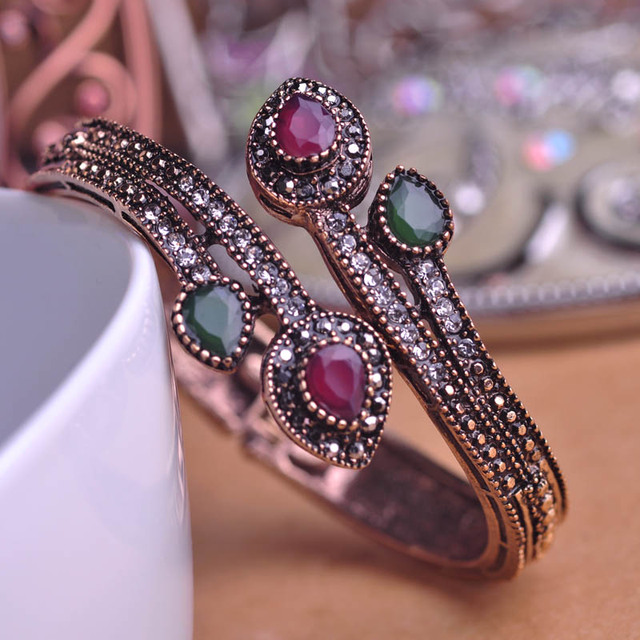 Vintage Green Branch Flower Bangles Antique Gold Plated Red Water Drop Resin Women Bangle Bracelets Hand Crystal Turkish Jewelry