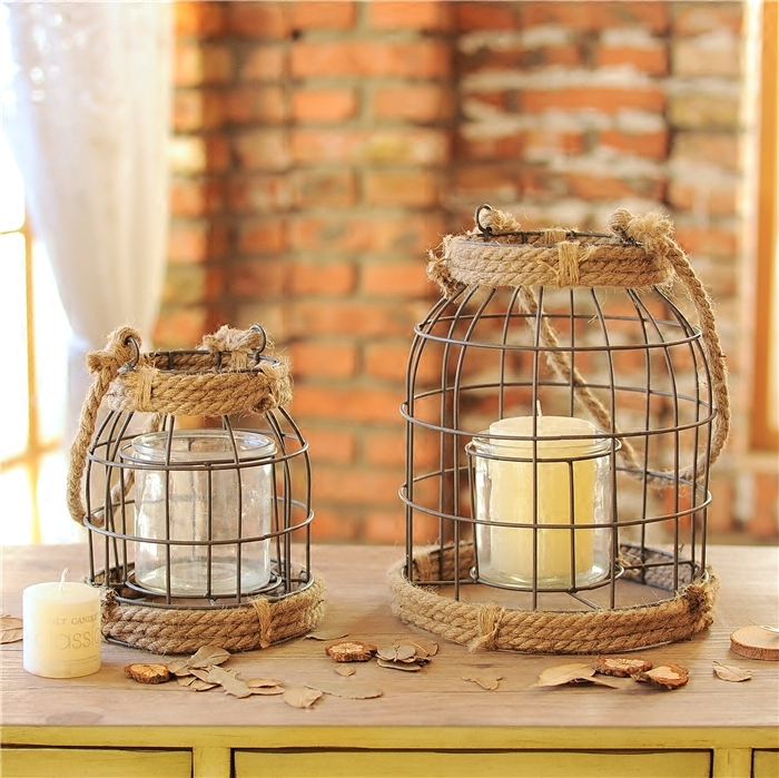 Country style old finish iron hand rope decorative candle for Decoration home store