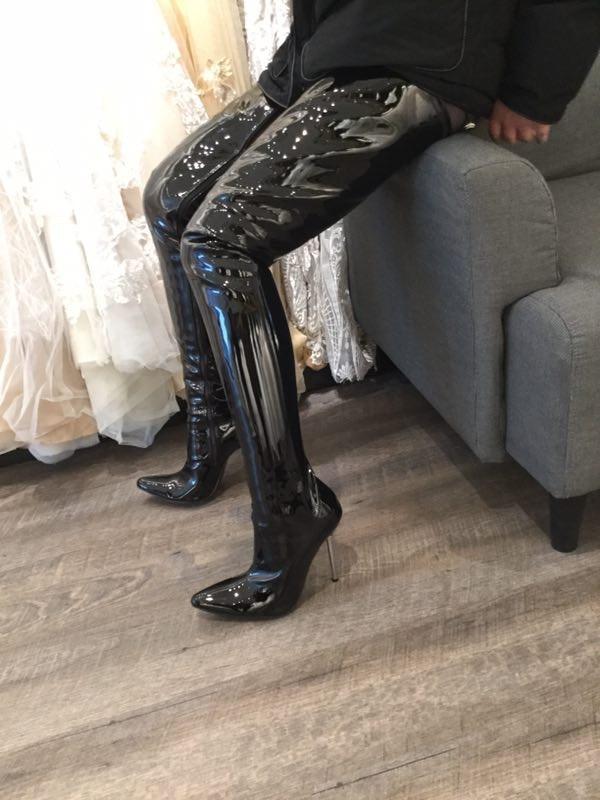 Custom Black Shiny Thigh High Boots For