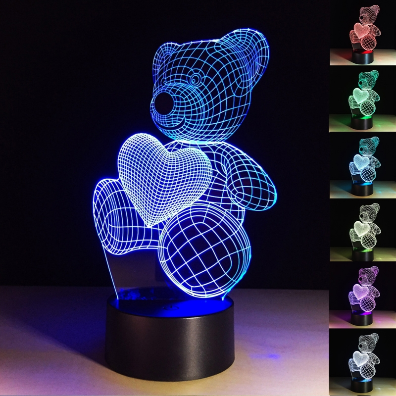 3d Night Light For Kid 7 Color Changing Beside Lamp Table Desk Lamps Baby Room Decoration 3d Optical Illusion